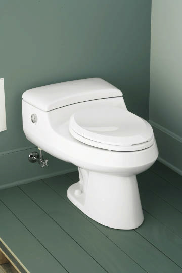 Kohler San Raphael Power Lite Toilet uses at least 20 percent less water than standard 1.6 gallon toilets.