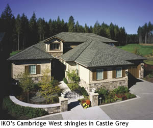 IKO's Cmabridge West shingles in Castle Grey