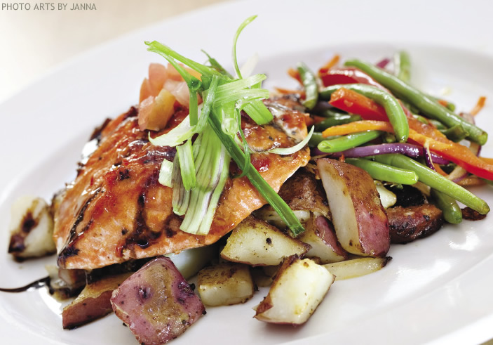 Bourbon BBQ Silver Salmon with Valley Potato and Vegetable Hash