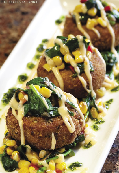 King Crab 'Tail' Cakes with Spinach & Corn Relish, Thai Aioli & Cilantro Oil