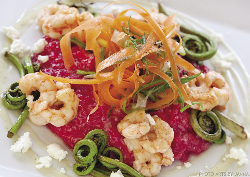 Roasted Alaska Beet & Fresh Side-Stripe Shrimp Risotto